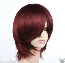 HOT SELL Cosplay Short Red Brown Straight EX-Long Bang wig