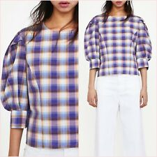 SALE Purple Checked Blouse Shirt Size XS S M L 6 8 10 12 US 2 4 6 8 Blogger❤