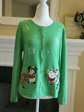 croft & barrow Women Cardigan Green Snowman Christmas Size: Petite Large