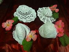 pour créations 4futurs chapeaux poupées ,coton ,crochet main et fleurs