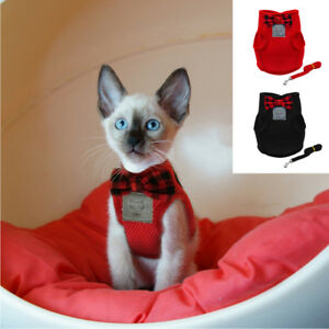 Mesh Bowtie Cat Harness and Lead Small Cat Walking Harness Pet Kitten Clothes