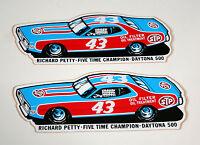 2 Vtg NASCAR STP Oil Richard Petty 43 Race Car Charger Daytona 500 Sticker
