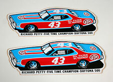 2 Vtg NASCAR STP Oil Richard Petty 43 Race Car Charger Daytona 500 Sticker