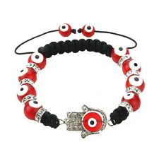 Glass Evil Eye Glass Bead Hamsa Protection Bracelet in Red