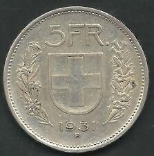 SWITZERLAND,  1931-B, TYPE 1,   5 FRANCS, SILVER,   KM#40,  XF-AU