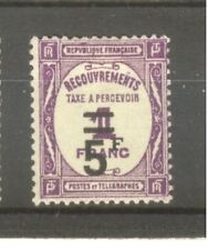 "FRANCE STAMP TIMBRE TAXE N° 65 "" 5F SUR 1F LILAS "" NEUF xx TTB"