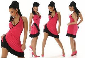 Womens Sexy Mini Dress 8 10 12 Evening Party Latin Style Dance Salsa Halterneck