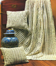 Antique Frost Lace Throw & 2 Cushions Leaves & Flowers Knitting Pattern
