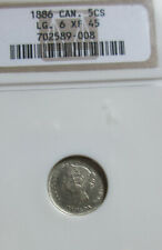 1886 Large 6 Canada Silver Five Cents Coin. NGC EF45 Queen Victoria Nickel
