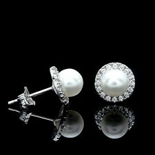 0.15CT Brilliant Created Diamond Halo Pearl Earrings 14k White Gold Round Studs