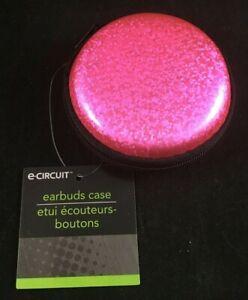 E-Circuit - Earbuds Case - Hard Sides - Zipper - Cord Storage - Pink Glitter