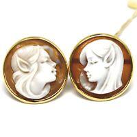 Ohrringe aus Gold Gelb 18K 750, Kamee Kamee Muschel, Paar Elfen, Elfe