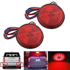 2PC Red 24 LED Round Reflectors Tail Brake Stop Marker Light Lamp Motorcycle ATV