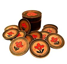 Antique Wooden Drink Coasters Set of 12 LOTOS The Hague Hand Painted Floral Box