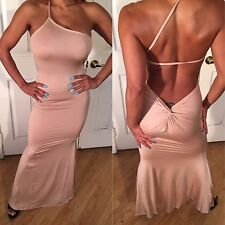 Connie's Semi Sheer Nude Beige Maxi Gown w/ Low Open Back & Ruched Butt S