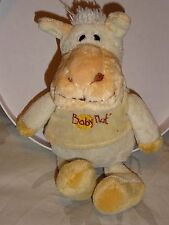 DOUDOU CHEVAL ÂNE  BABY NAT  28 CM  VELOURS CREME TEE SHIRT AMOVIBLE BRODE