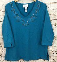 Susan Graver shirt top womens large stud embroidered vneck 3/4 slv teal Z3