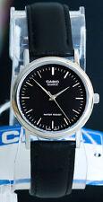 Casio MTP-1095E-1A Men's Black Analog Watch Leather Band Silver Rim Quartz New