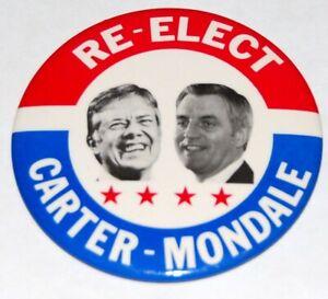 "'80 JIMMY CARTER 3.5"" Mondale campaign pin pinback button political presidential"