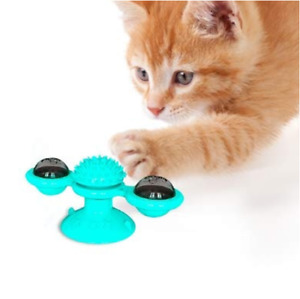 Interactive Cat Toy Windmill Portable Scratch Hair Brush Grooming Shedding Massa