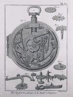 Horlogerie 1765 Montre à Répétition Gravure Encyclopédie Diderot Watchmaking