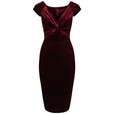Claret Red Velour Velvet Party Hollywood Wiggle Bodycon Pencil Cocktail Dress