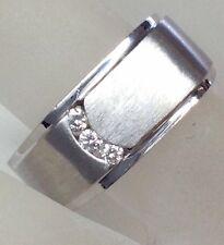 Men's Genuine Diamond Wedding Band Ring Solid Brushed 14K White Gold 12.6gms