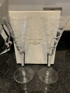 "Pair of Waterford Crystal ""Aura"" by Jasper Conran Champagne Flutes + Box + 26cm"