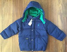 POLO RALPH LAUREN $165 Boys Elmwood Down Jacket Puffer Green Navy Blue 4 4T NWT
