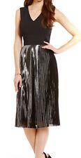 NWT $159 Antonio Melani Cilan Stretch Crepe Pleated Metallic Dress Size 2
