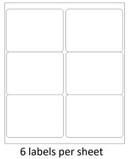 "600 4"" x 3.33"" Self Adhesive Shipping Address / FBA Labels 6 per sheet * 6 up *"