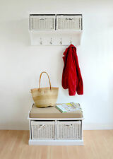 Tetbury Coat Rack With White Wicker Baskets Fully Assembled Hallway Shelf