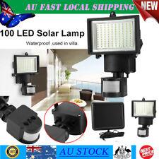 Outside 100LED Solar Energy Power Human Body Motion Sensor Lamp Light Wall Home