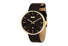 2017 NWT MENS VESTAL ROOSEVELT ITALIAN LEATHER WATCH $200 black/gold