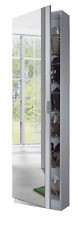 Kristal Shoe Storage Cabinet Tall Slim Mirrored Door White Wall Mountable