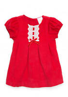 NWT Nursery Rhyme Baby Girls Red Short Sleeve Corduroy Lace Dress 6-9 12 18 M