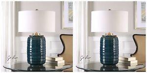 "LUXURIOUS DARK TEAL GLAZE CERAMIC TABLE LAMP LINEN SHADE BRUSHED METAL XL 29"""