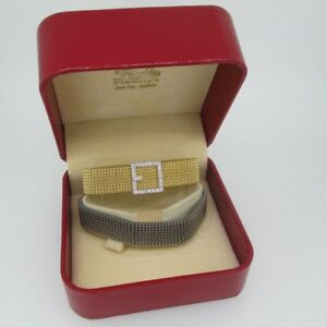 18k White Gold with Diamond Accented Buckle with 2 Gold Filled Bracelets