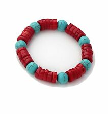 Elegant 8mm Round Turquoise Gemstone and Red Coral Stretchy Bangle Bracelet