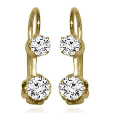 RUSSIAN VINTAGE STYLE DIAMOND EARRINGS IN 14K SOLID YELLOW GOLD #E1382 NEW