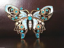 LARGE VINTAGE ALLOY GREEN ENAMEL BUTTERFLY RHINESTONE DIAMANTE BROOCH