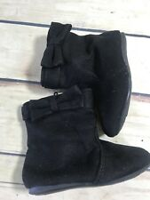 Girls/Toddler Size 4W TEENY TOES Black Boots Bow Side Zip Faux Suede Slip On