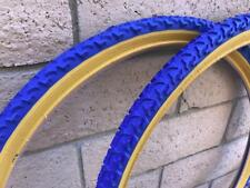 "PAIR of 26"" Blue Gumwall BMX CRUISER Bicycle Mountain Bike Tires & Tubes 26X1.75"