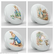 Set of 4 Peter Rabbit Ceramic Knobs Pulls Kitchen Drawer Cabinet Closet 633