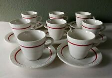 SYRACUSE CHINA - ECONO-RIM - RESTAURANT WARE DEMITASSE CUPS & SAUCERS - SET OF 8