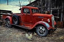 1930's Dodge pickup truck grille hood fender canvas art 20x30 picture photograph