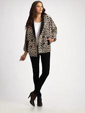 Loeffler Randall Double-breasted Leopard Wmn Blazer Jacket Coat Black Taupe Wool
