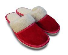 Damen Hausschuhe Pantoffeln Veloursleder m. Lammwolle gefüttert, Rot, Gr.37- 42