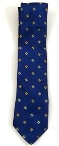 Michael Kors 100% Silk Necktie Blue With Gold And Blue Accents