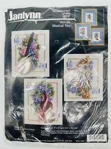 """Janlynn Counted Cross Stitch kit """"Musical Trio"""" #125-205 harp cello lute 14 ct"""
